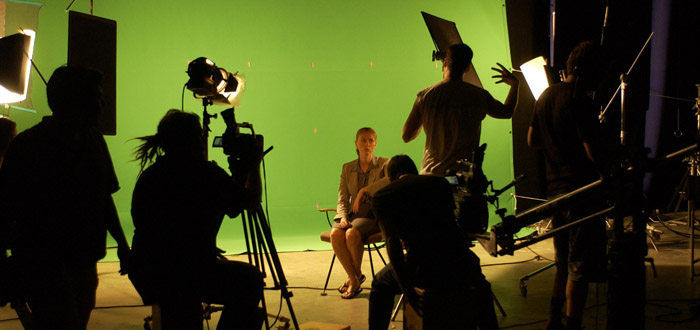 On the green-screen set of The Crooked Eye
